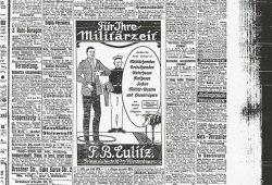 Am 29. Juli wirbt F.B. Eulitz nicht mehr für Schillerhemden oder Strümpfe sondern für einen ganz aktuellen Bedarf. Foto: Stadtarchiv