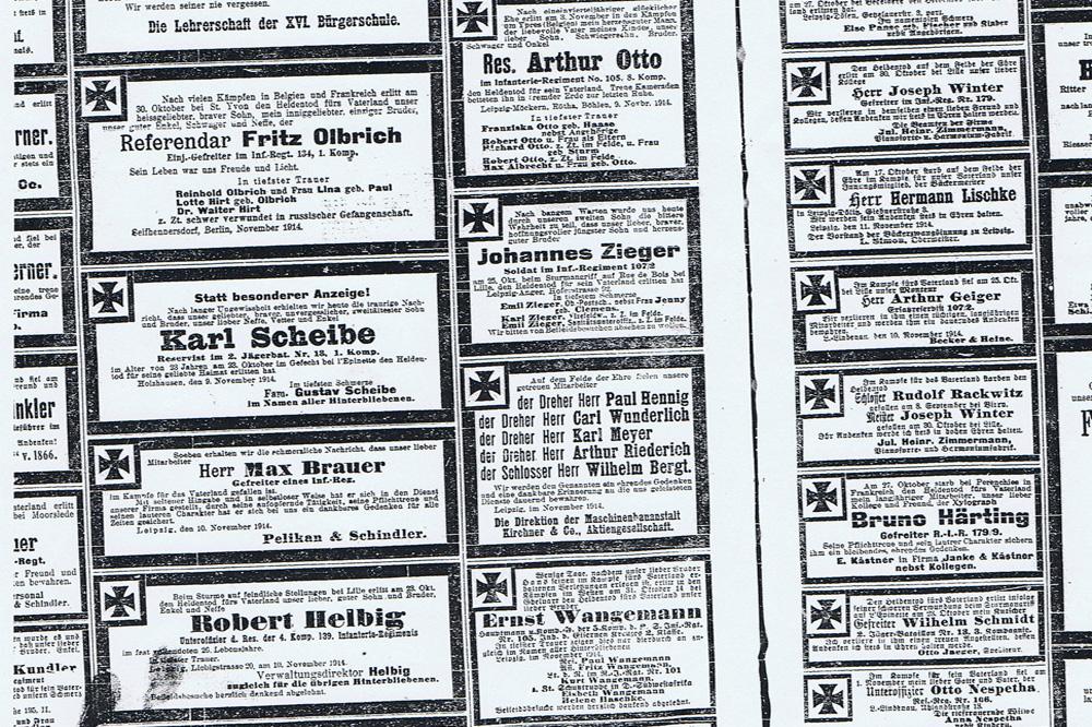 Leipzig, Weihnachten 1914: Verluste und Vermarktung, Hindenburg und Helden