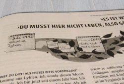 10 Interviews mit Flüchtlingen, 10 Lebensgeschichten. Foto: Patrick Kulow, Broschüre: BonCourage e.V.