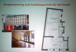 Aus der Präsentation von Sandra Brandt: Die Planungen für die Stadt- und Tourismusinformation in der Markkleeberger Rathausstraße. Foto: Patrick Kulow