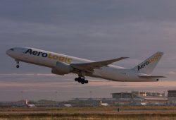 Startender Aerologic-Frachter auf dem Flughafen Leipzig / Halle. Foto: Flughafen Leipzig / Halle, Uwe Schoßig