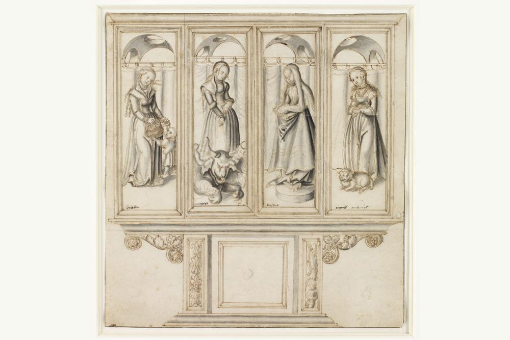Lucas Cranach d.Ä.: Altarentwurf mit vier Heiligenfiguren (1520er Jahre). Foto: Museum der bildenden Künste Leipzig