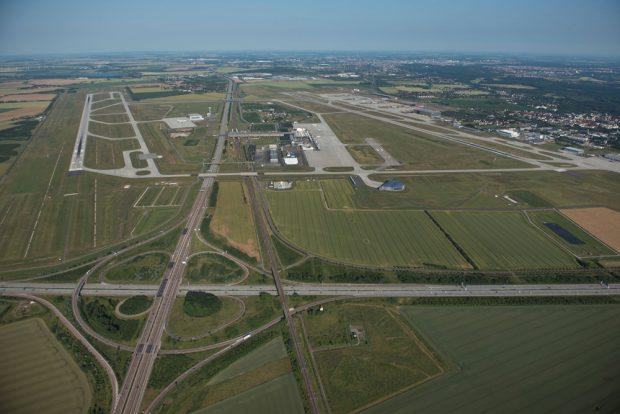 Flughafen Leipzig / Halle aus der Luftperspektive. Foto: Flughafen Leipzig / Halle, Uwe Schoßig