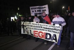 Legida-Demonstranten am 21. Januar 2015 in Leipzig. Foto: L-IZ.de