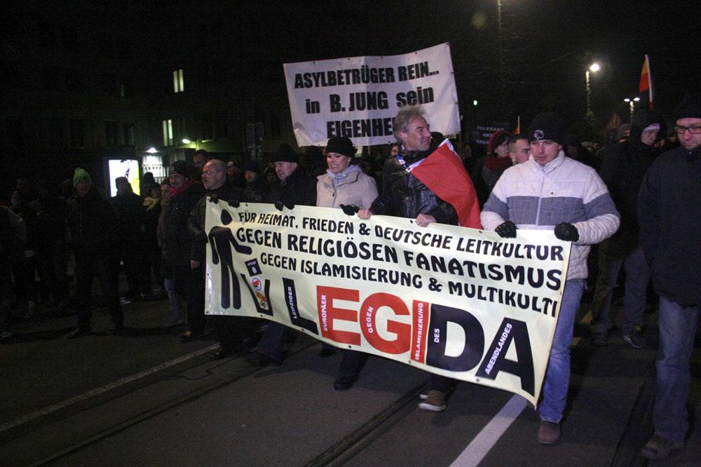 Legida-Demonstranten am 21. Januar 2015 in Leipzig. Foto: L-IZ.de