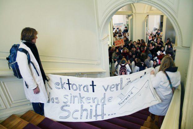 Protest der Pharmazie-Studierenden im Dezember 2011. Foto: Ralf Julke