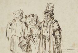 Rembrandt (Umkreis): Der Engel verkündet Manoah und seiner Frau die Geburt eines Sohnes. Maximilian Speck von Sternburg Stiftung. (Detail). Foto: Museum der bildenden Künste