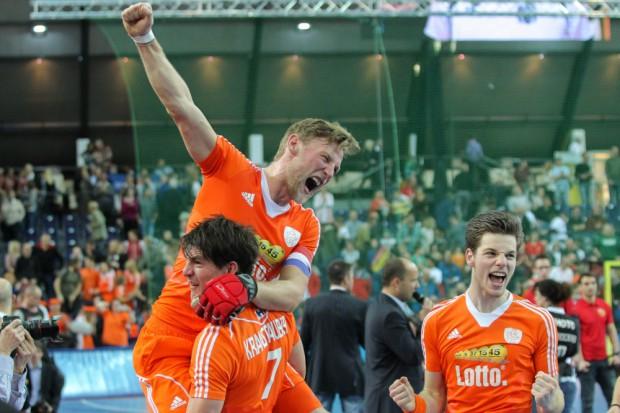 Weltmeisterlicher Jubel bei den niederländischen Hockey-Männern. Foto: Jan Kaefer