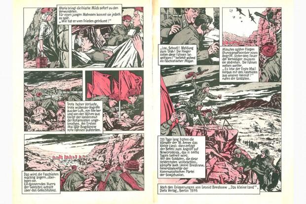Der Brückenkopf. In: ATZE 12/1979, S. 10f.,Wolfgang Altenburger (Text) / Horst Klöpfel (Grafik). Foto: HGB Leipzig