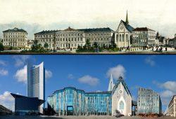 Vergleich 1850 / 2015: Panorama-Ausschnitt Universität / Paulinerkirche. Foto: 2015, PanoramaStreetline und Projekt Leipziger Ring