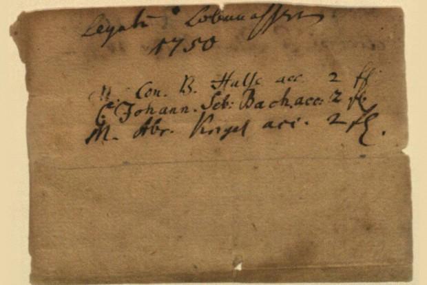Die Unterschrift von Johann Christian Bach stellvertretend für seinen Vater auf der Quittung für das Lobwasser-Legat. Foto: Sammlung Bach-Archiv Leipzig