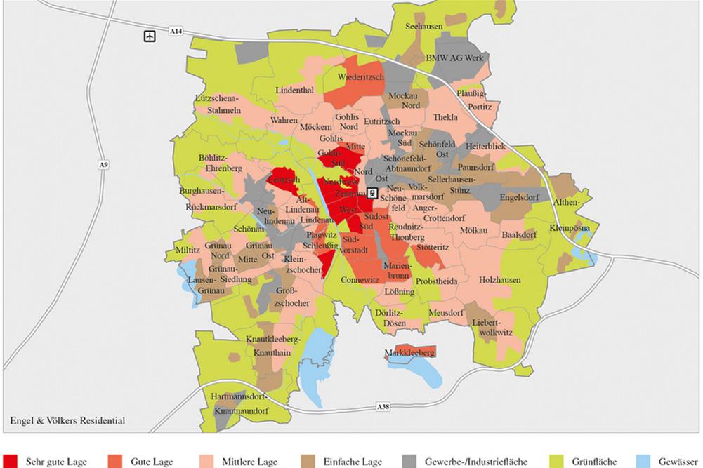Die Differenzierung der Wohnlagen in Leipzig 2014. Karte: Engel & Völkers