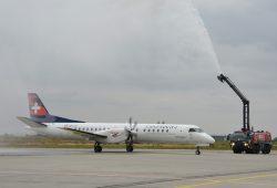 Taufe eines Fliegers der Darwin Airline zum Erstflug 2013. Foto: Flughafen Leipzig / Halle, Uwe Schoßig
