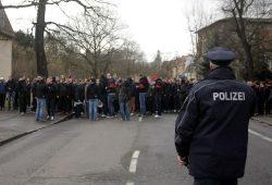 Fanmarsch von Union Fans zum Spiel RB Leipzig gegen 1. FC Union Berlin