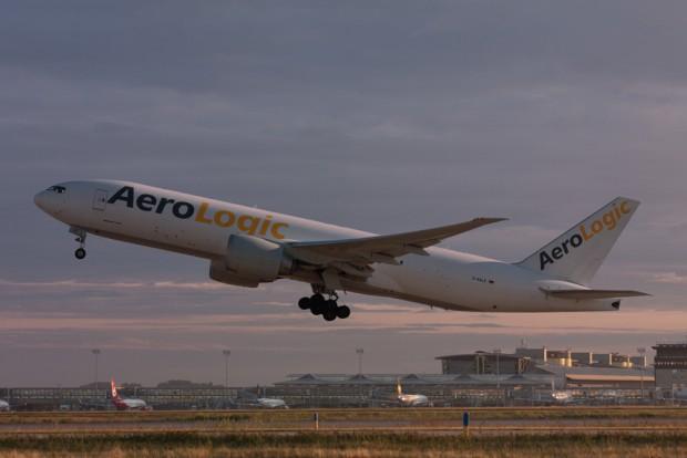 Ein Aerologic-Frachter startet auf dem Flughafen Leipzig / Halle. Foto: Flughafen Leipzig / Halle, Uwe Schoßig