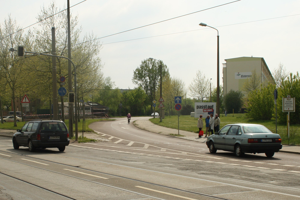 Die Linke weiß, wo die Bismarckstraße ist: Bismarckstraße in Großzschocher im Wahlkampf 2014. Foto: Ralf Julke
