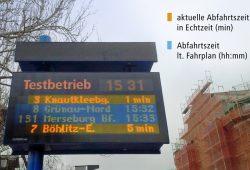 Fahrgastanzeiger mit den beiden künftigen Anzeigeoptionen im Testbetrieb. Foto: Leipziger Verkehrsbetriebe (LVB) GmbH