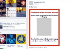 Benjamin B. hofft als einer der Ersten auf fleißiges Teilen einer Verleumdung bei Facebook. Über das Netzwerk verbreitet sich der fingierte Fahndungsaufruf bis hin zu besorgten Müttern und niemand prüft den Wahrheitsgehalt. Screen L-IZ.de vom öffentlich einsehbaren FB-Account von Benjamin B.