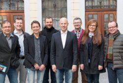 v.l.n.r.: Ralf-Peter Wirth, Friedrich Vosberg, Linda Firmbach, Robert Hesse, Marcus Viefeld, Horst Wolfert, Janina Dinse, René Hobusch. Foto: FDP Leipzig