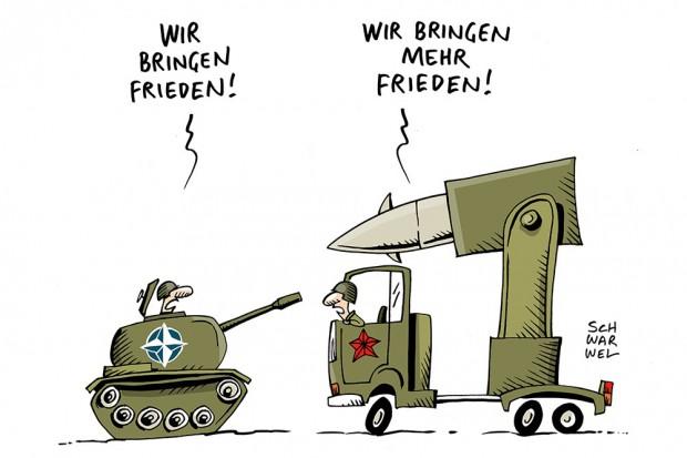 Frieden. Karikatur: Schwarwel