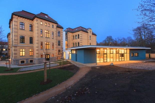 Außenansicht der neuen Kita UNiKAT. Foto: Swen Reichhold/Universität Leipzig