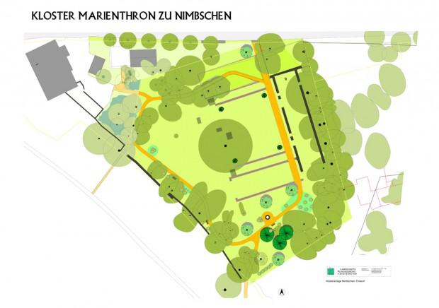 Plan der Parkanlage um das Kloster Nimbschen. Karte: Stadt Grimma, Landschafts- und Planungsbüro Dr. Bormann & Partner