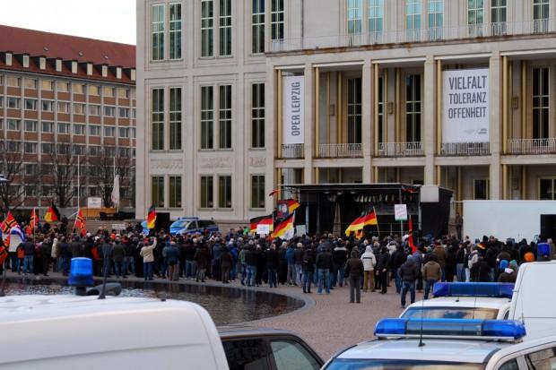 Legida am 30. März 2015 auf dem Augustusplatz. Geschwundenes Interesse in Leipzig und Dresden. Foto: L-IZ.de