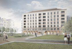 """Thomas Hilles Entwurf für ein siebenstöckiges Gebäude an def Jablonowskistraße / """"Leplayplatz"""". Visualisierung: Thomas Hille/klm Architekten"""