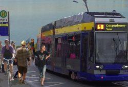 Vom Ökolöwen schon mal bildhaft montiert: Straßenbahnhaltestelle Pier 1. Foto: Ökolöwe – Umweltbund Leipzig e.V.