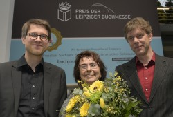 Die drei Preisträger des Leipziger Buchmesse-Preises 2015: Jan Wagner (Belletristik), Mirjam Pressler (Übersetzung) und Philipp Ther (Sachbuch/Essayistik) (v.l.n.r.). Foto: Leipziger Messe GmbH / Uli Koch