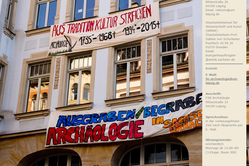 Protest gegen die Schließungspläne auf der Website des FSR Archäologie. Screenshot: L-IZ