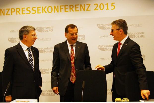 VNG-Vorstände zur Bilanzpressekonferenz: Klaus-Diter Barbknecht, Karsten Heuchert und Bodo Rodestock (v.l.). Foto: Ralf Julke