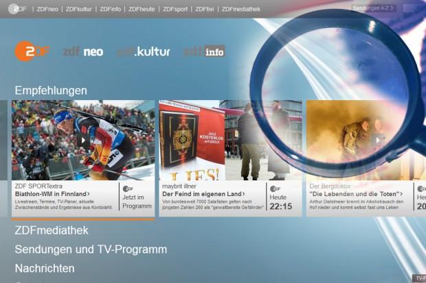 Ausgewogenheit mit der Lupe gesucht: Startseite des ZDF im Internet. Montage: L-IZ