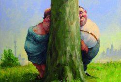 """""""Versteckte Fette"""" von Rudi Hurzlmeier (in Zusammenarbeit mit Stefan Gärtner und Stephan Rürup), Deutscher Karikaturenpreis 2014"""