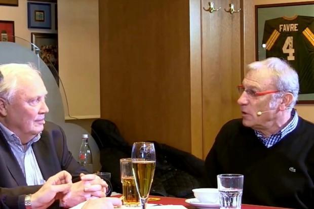 """Zwei """"alte Haudegen"""" ziehen alle Register im Fußballtalk. Gert Zimmermann und Eduard Geyer in der Championsbar. Foto: Screen Video hfm-tv"""