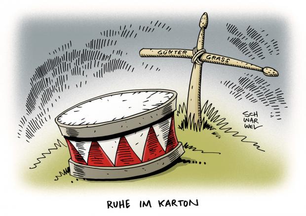 Zum Tod von Günter Grass. Karikatur Schwarwel.