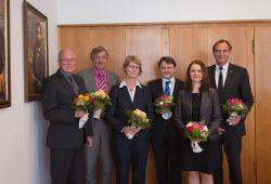 V.l.n.r.: Prof. Jürgen Staupe, Dr. Mathias Reuschel, Prof. Ulrike Herzau-Gerhardt, Prof. Hubertus Milke, Dr. Heike Graßmann, OBM Burkhard Jung. Fofo: HTWK Leipzig