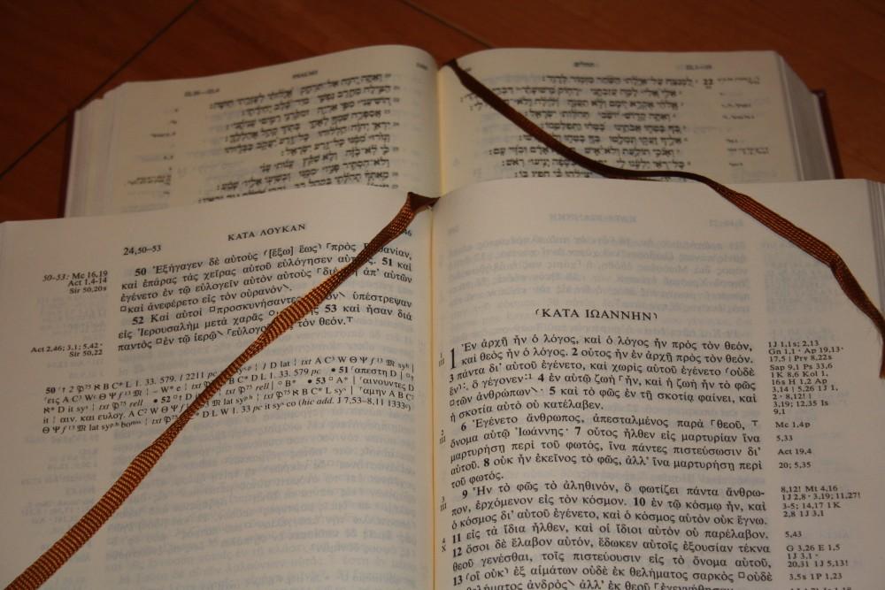 Die Bibel in den Originalsprachen. Foto: Ernst-Ulrich Kneitschel