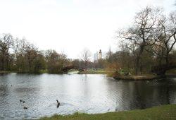 Frühlingsgefühle: Blick über den Teich im Johannapark im April 2015. Foto: Ralf Julke