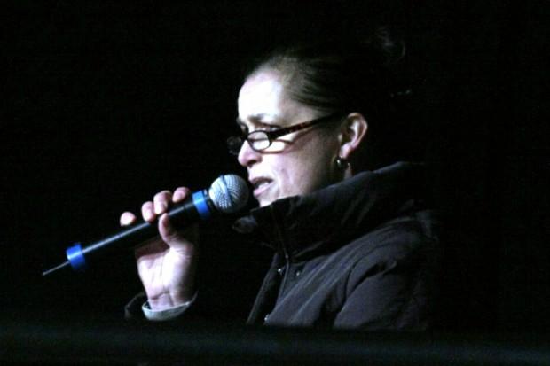 Pegida-OBM-Kandidatin für Dresden am 7. Juni 2015: Tatjana Festerling (bei einer Ansprache in Leipzig). Foto: L-IZ.de
