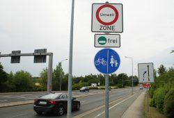 Einfahrt in die Leipziger Umweltzone an der Hohentichelnstraße. Foto: Ralf Julke
