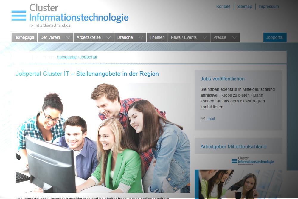 Die Jobangebote auf der Website des IT-Clusters. Screenshot: L-IZ