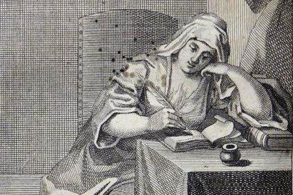 Darstellung einer Dichterin, Kupferstich in einem Buch von Christian Friedrich Henrici. Foto: Bach-Archiv Leipzig