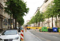 Enge Verkehrsführung im Süden der Könneritzstraße. Foto: Ralf Julke
