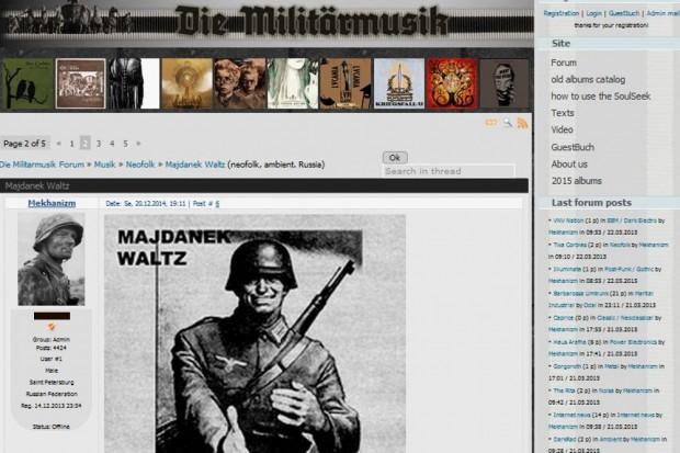 """Ein Cover der Band """"Majdanek Waltz"""" aus dem Jahr 2004 im Forum """"Die Militärmusik"""". Screen von http://diemilitarmusik.clan.su/forum/82-530-1"""