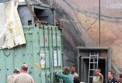 Voi Nam rüsselt bei seiner Ankunft in Leipzig aus dem Container Foto: Zoo Leipzig