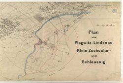 Übersichtskarte über die Dörfer westlich von Leipzig 1880. Quelle: Stadtarchiv