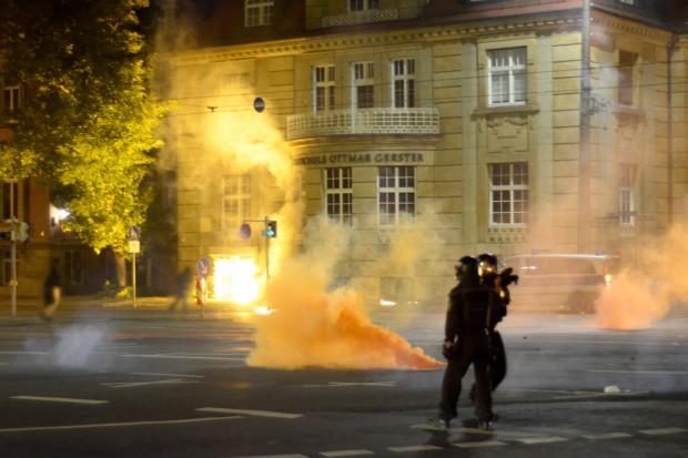 Randale in der Leipziger Innenstadt. Foto: Indymedia