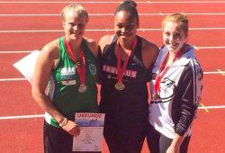 Silbermedaillen-Gewinnerin Sara Gambette (li.) mit Siegerin Shanice Craft (mi.) und der Dritten Alina Kenzel. Foto: Sara Gambetta/ DHfK