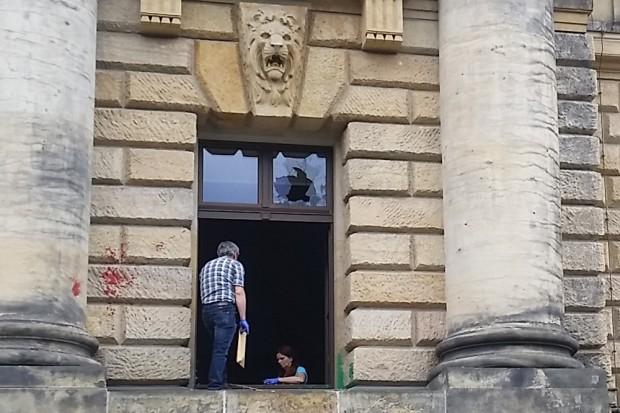 Spurensicherung und Aufräumen im Bundesverwaltungsgericht am Morgen nach dem 5. Juni. Foto: L-IZ.de